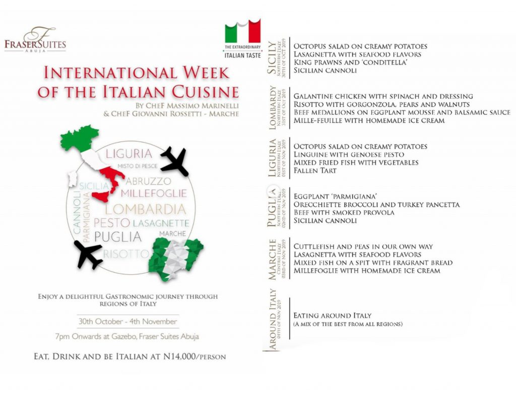 Italian Week menu description